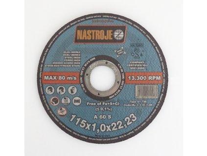 Kotouč řezný 115 x 1,0 x 22 mm, na ocel a nerez