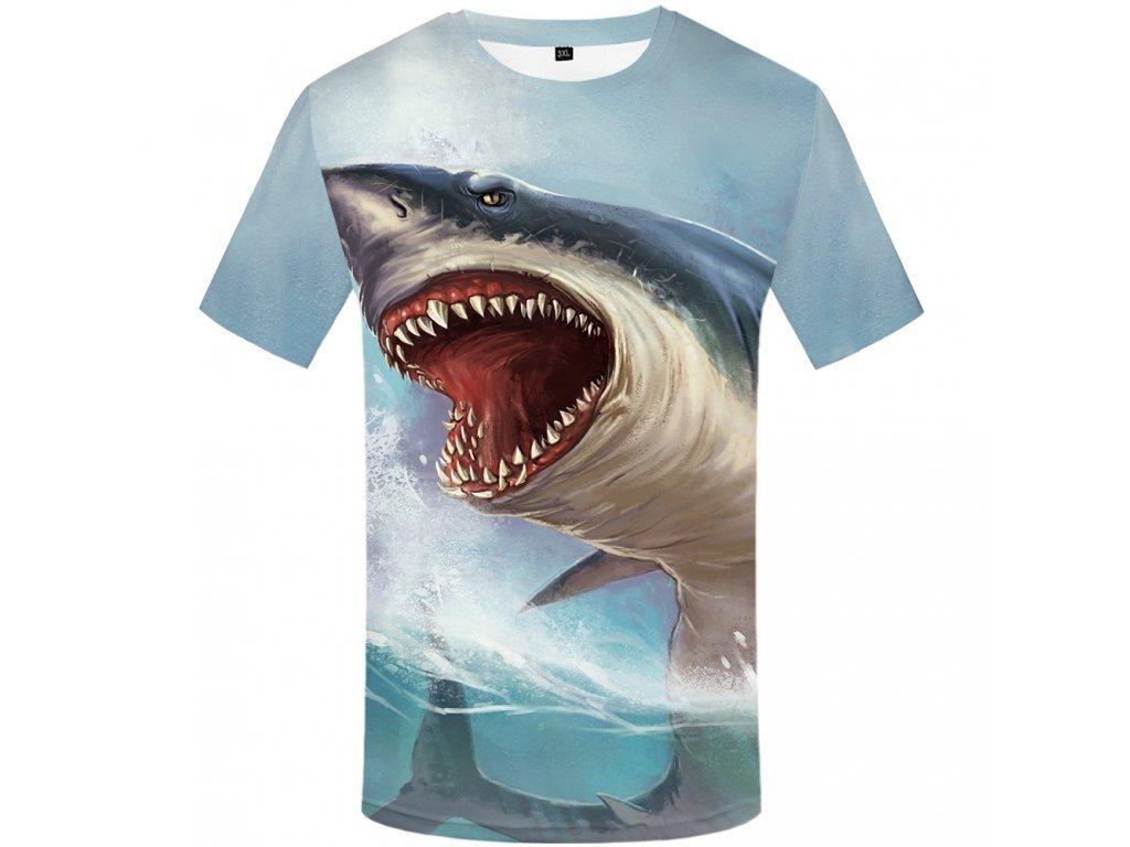 Tričko Žralok 3D (Číslování velikostí Asijské, Velikost XXL)