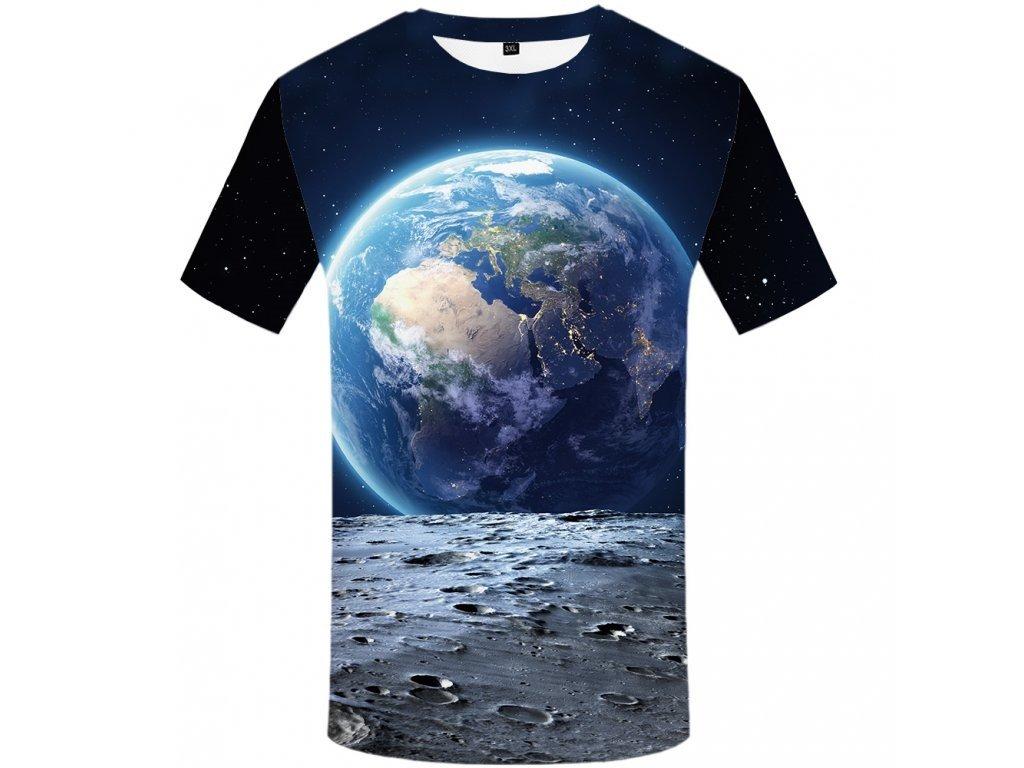 Tričko Země z Měsíce 3D (Číslování velikostí Asijské, Velikost XXL)