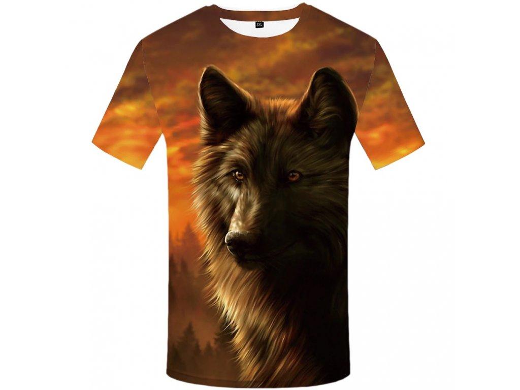 Tričko Vlk při západu slunce 3D