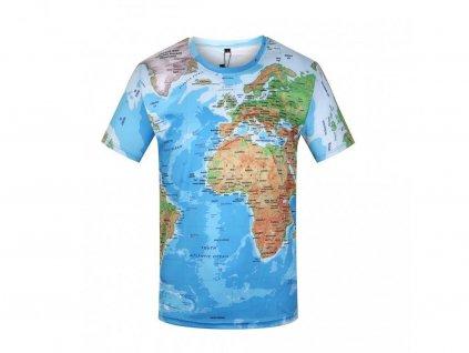 Tričko Mapa světa 3D (Číslování velikostí Asijské, Velikost XXL)