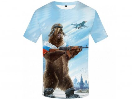 Tričko Bojující ruský medvěd 3D (Číslování velikostí Asijské, Velikost XXL)