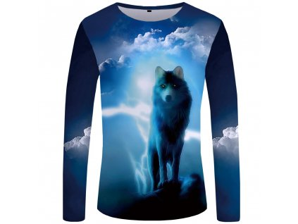 Tričko Vlk v bouřce s dlouhým rukávem 3D