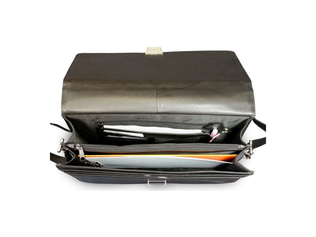 Černá kožená aktovka se dvěma velkými vnitřními přihrádkami ... 2476954cb5