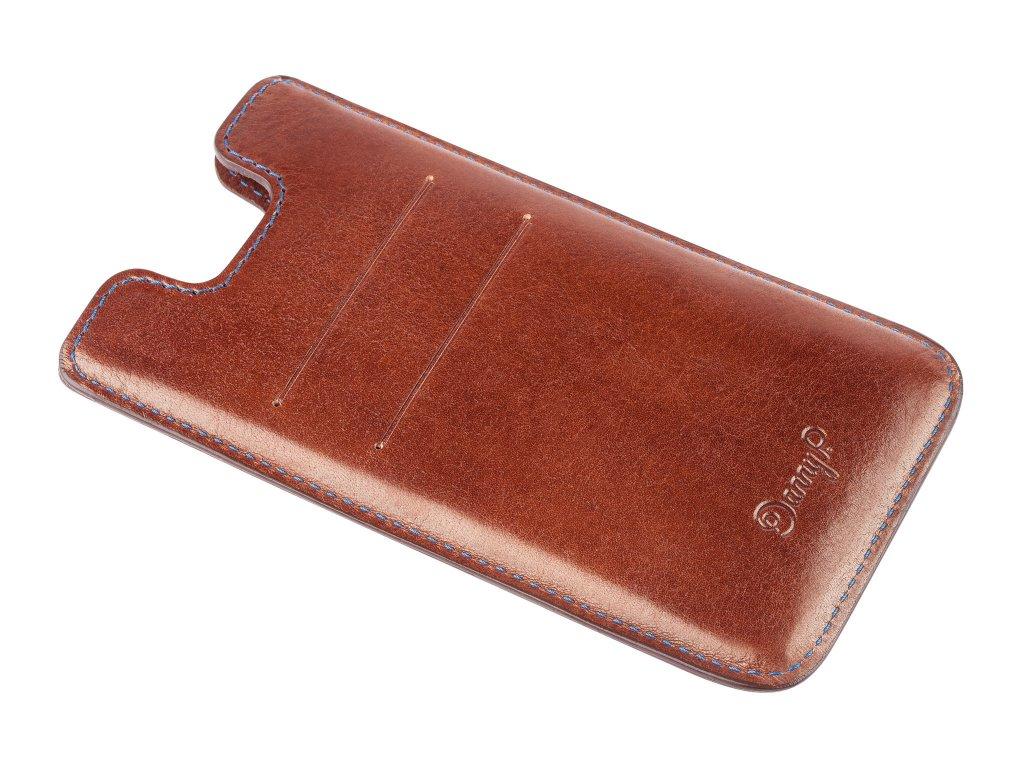 Kožený obal na iPhone 7/6S/6, Tmavě hnědý