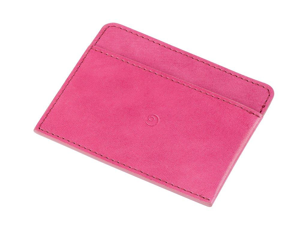 Kožená peněženka na karty, Růžová