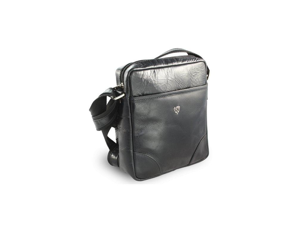 Černý kožený crossbag