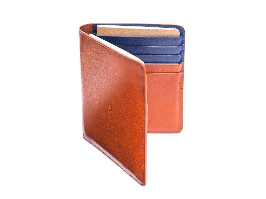 Kožená cestovní peněženka, Hnědo/Modrá