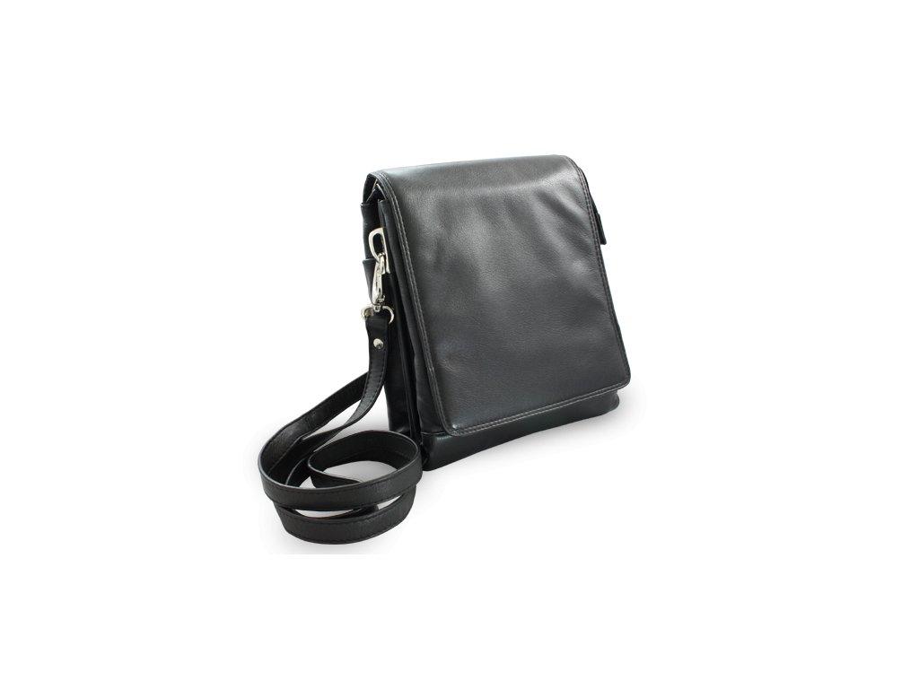 Velký pánský kožený crossbag, Černý