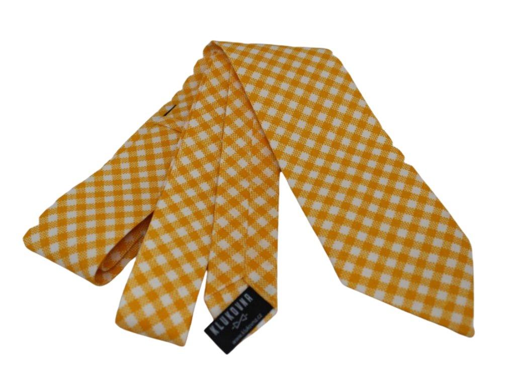 Žlutobílá károvaná kravata