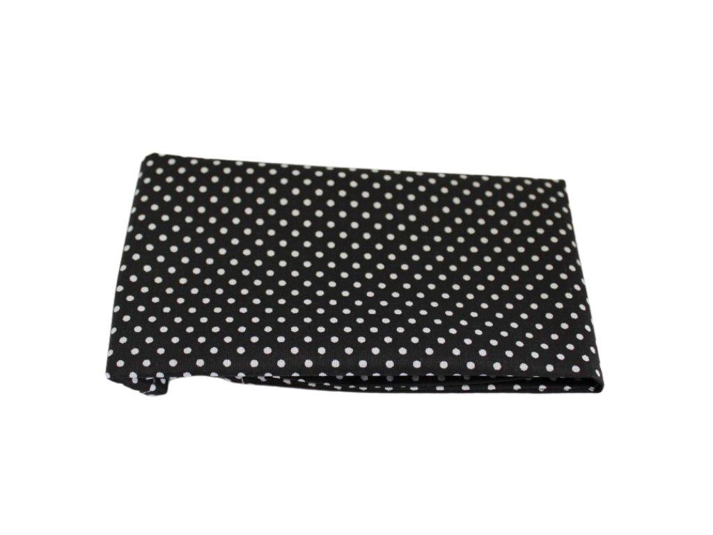 Černý kapesníček do saka s bílými puntíky