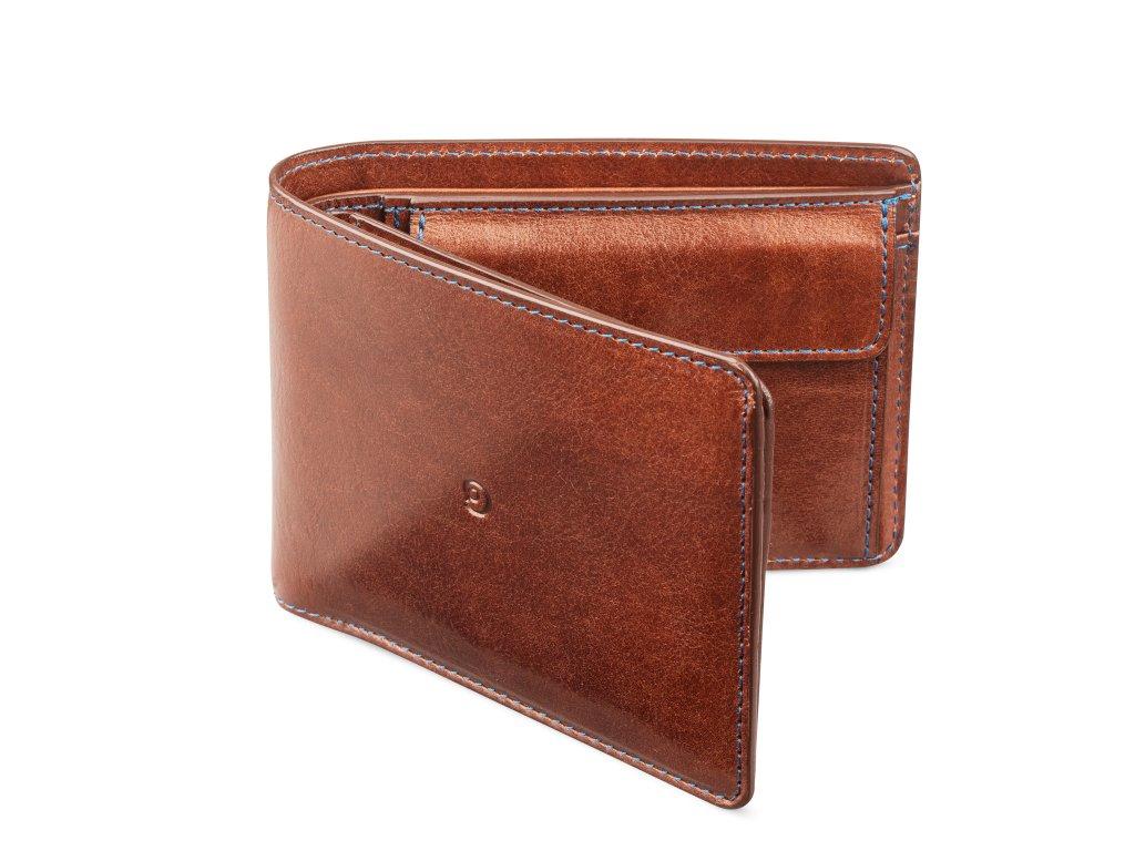 Pánská kožená business peněženka, Tmavě hnědá