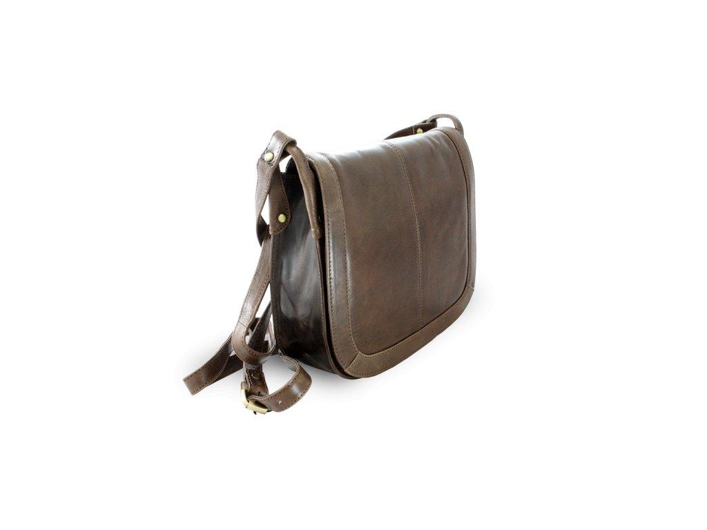Hnědá kožená klopnová kabelka