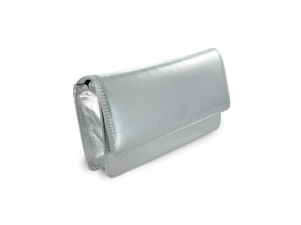 Stříbrné kožené psaníčko s popruhem
