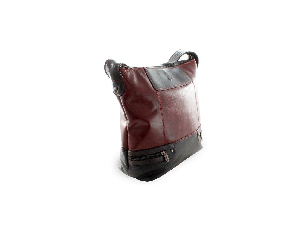 Dámská kožená kabelka, Červeno/Černá