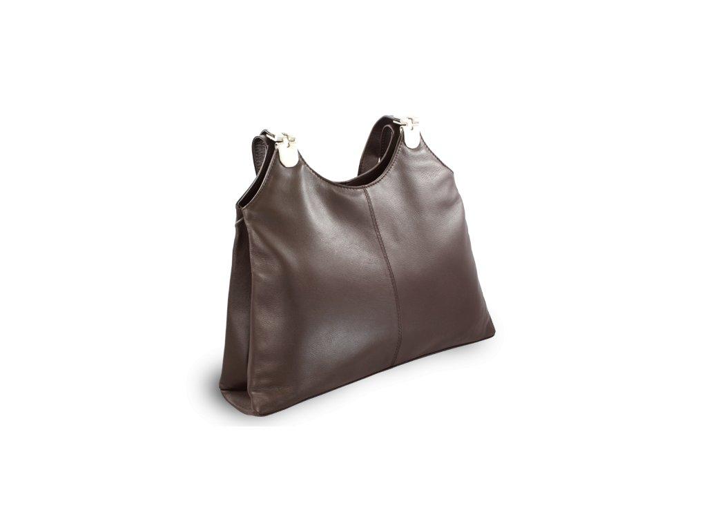 Kožená zipová kabelka se dvěma popruhy, Tmavě hnědá
