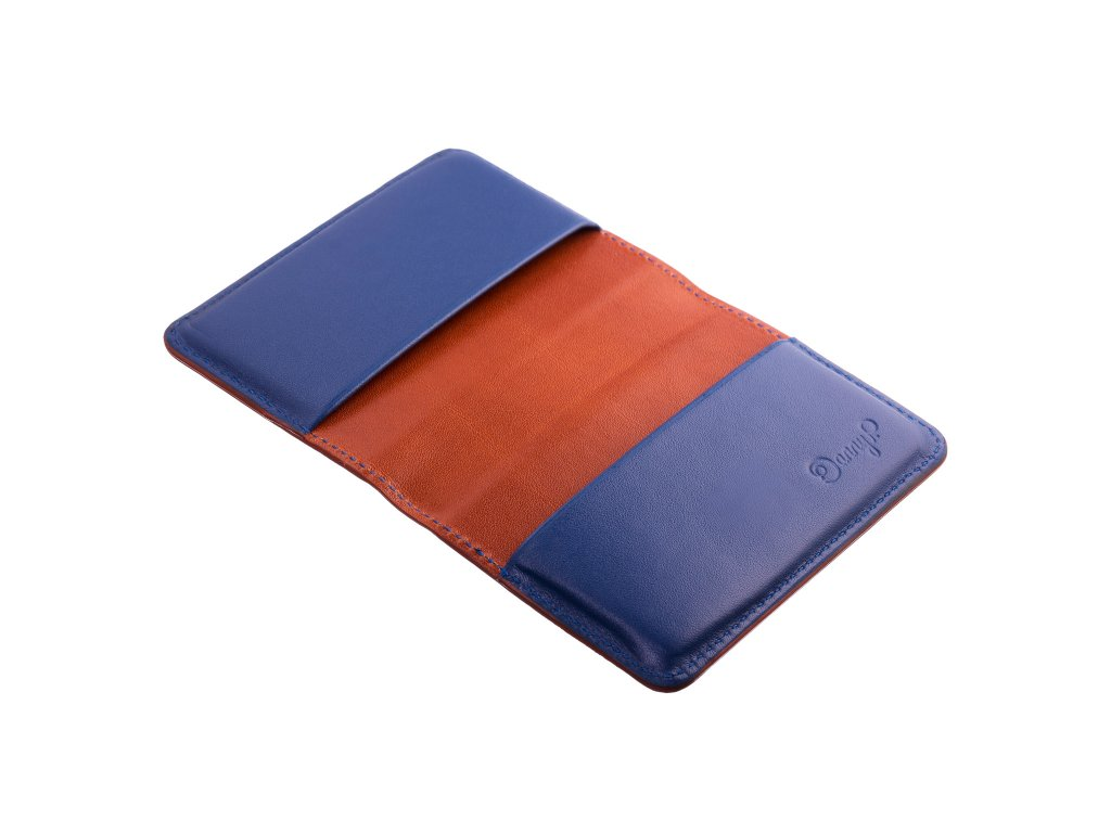 kozene pouzdro na karty vizitky hnedo modra