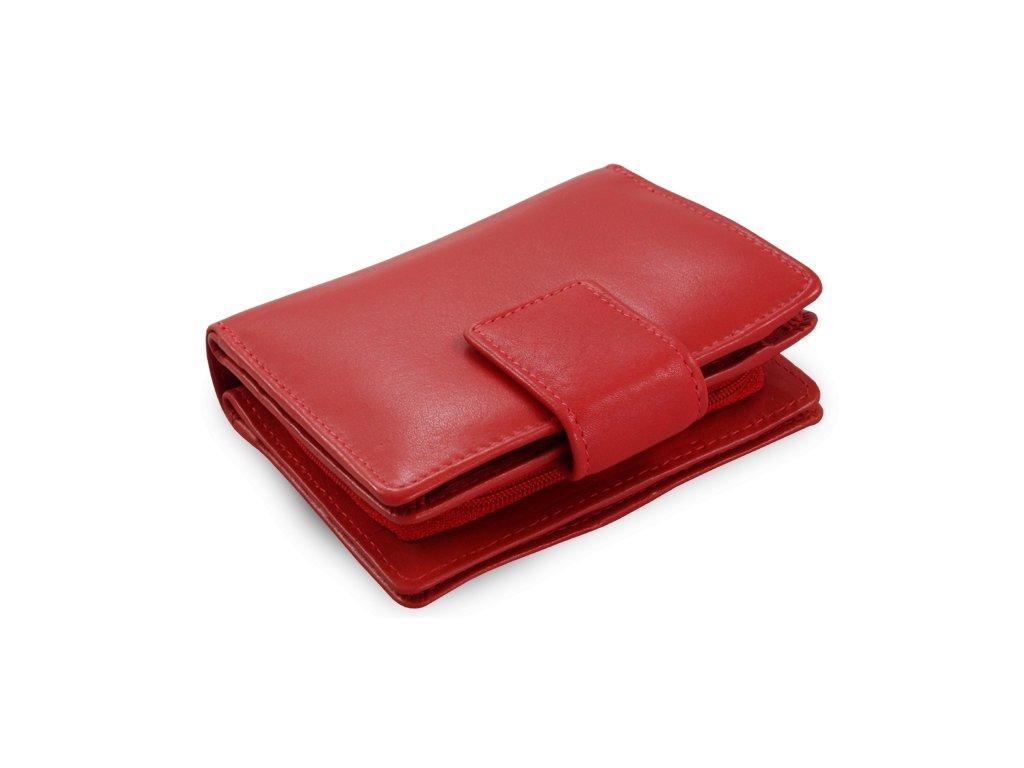 cervena damska kozena penezenka se zapinkou