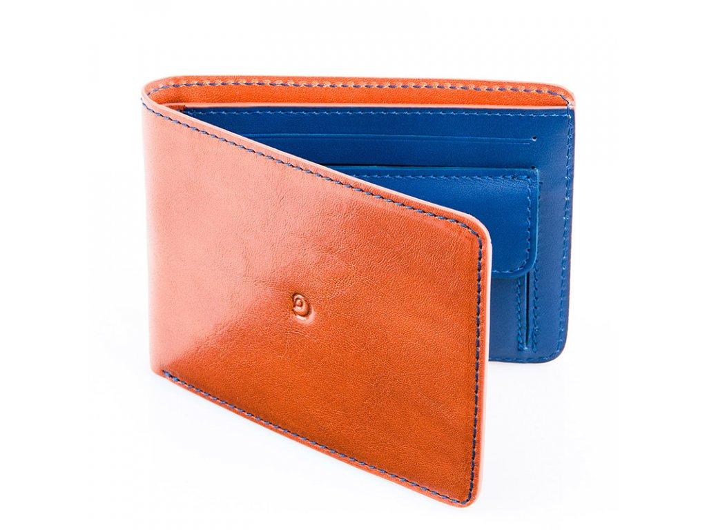 Pánská kožená peněženka, Hnědo/Modrá
