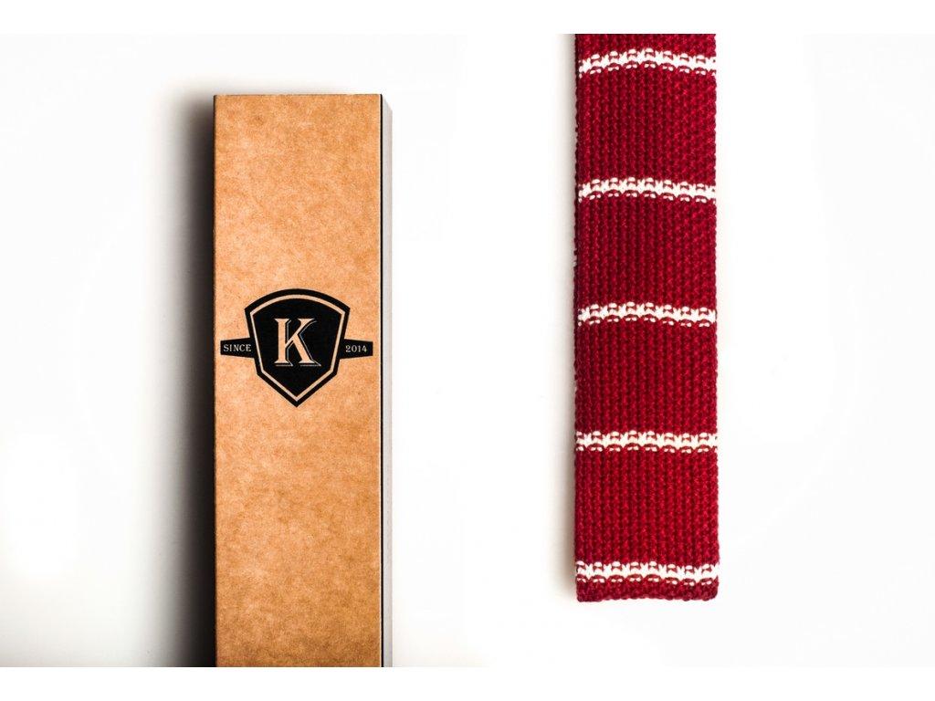 Pletená kravata - Rudá s bílou
