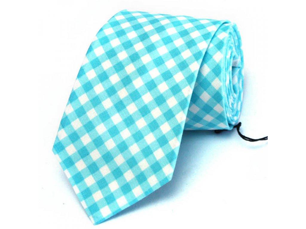 Tyrkysová károvaná kravata