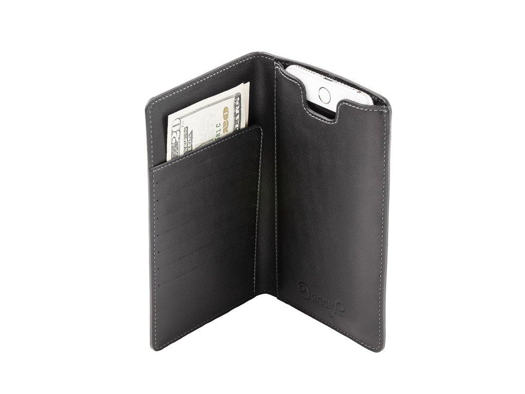 Kožená peněženka s pouzdrem na iPhone 7/6S/6 Plus, Černá
