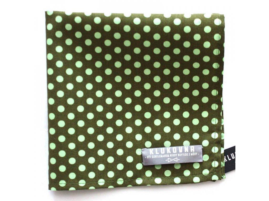 Tmavě zelený kapesníček do saka s puntíky