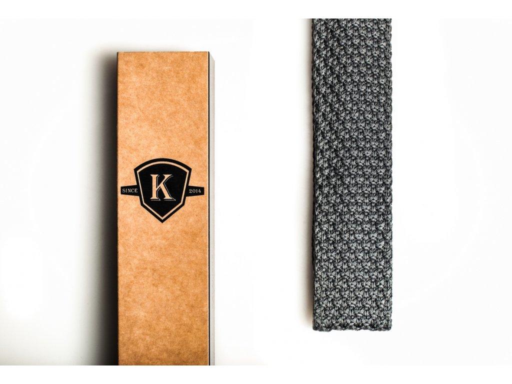 Pletená kravata - Šedá