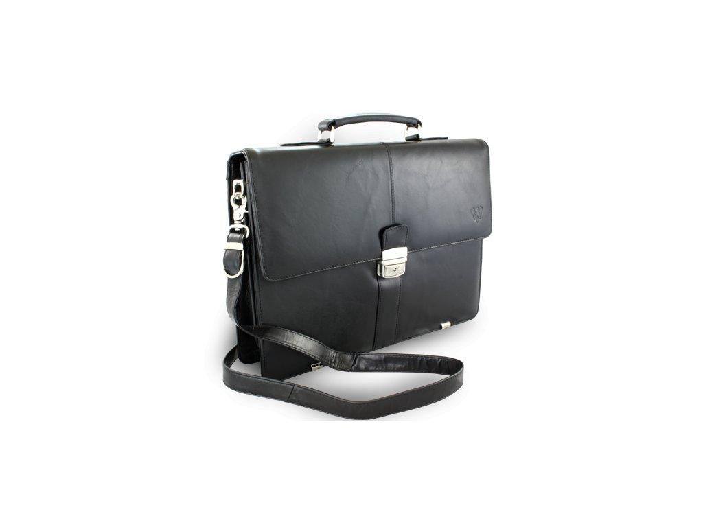 Černá kožená aktovka s přihrádkou pro notebook