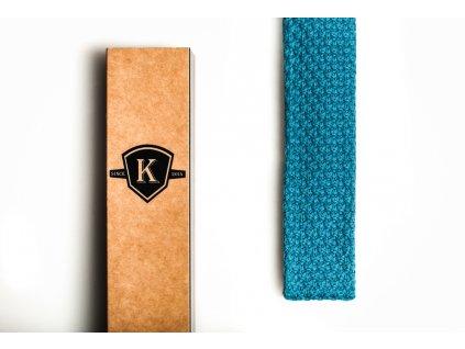 Pletená kravata - Tyrkysová