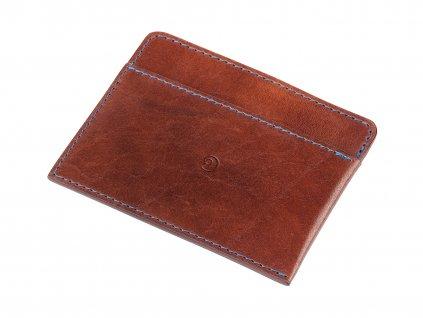 Kožená peněženka na karty, Tmavě hnědá