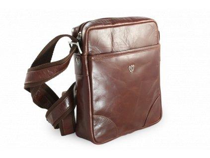 Hnědý kožený crossbag