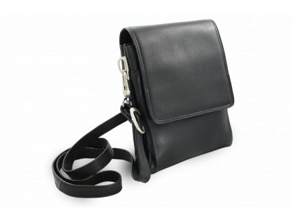 Malý pánský kožený crossbag, Černý
