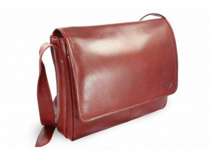Kožená taška na notebook, Červená
