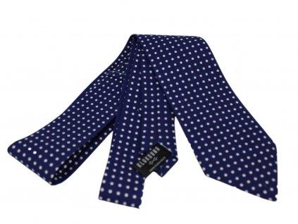 Tmavě modrá kravata s bílými puntíky