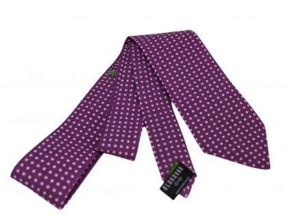 Fialová kravata s bílými puntíky