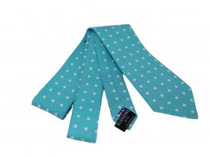 Tyrkysová kravata s bílými puntíky