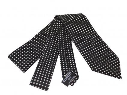 Černá kravata s bílými puntíky