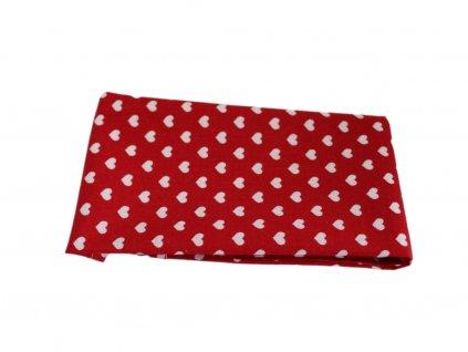 Červený kapesníček do saka s bílými srdíčky