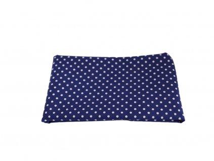 Tmavě modrý kapesníček do saka s bílými puntíky