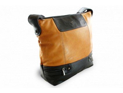 Dámská kožená kabelka, Hnědo/Černá