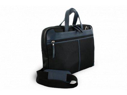 Kožená business taška na notebook, Černo/Modrá