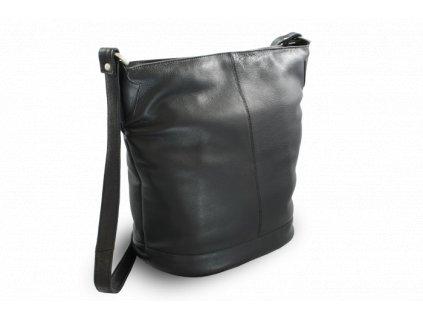 Kožená zipová kabelka, Černá