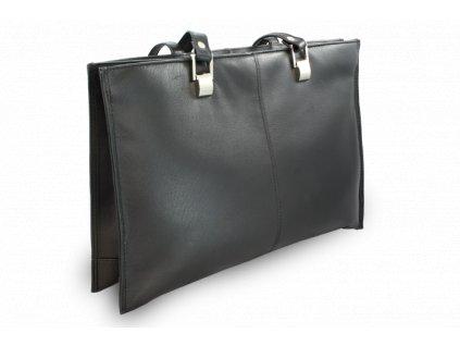 Kožená třízipová kabelka, Černá