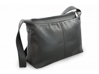 Kožená dvouzipová kabelka s širokým popruhem, Černá