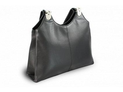 Kožená zipová kabelka se dvěma popruhy, Černá