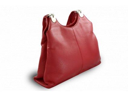 Kožená zipová kabelka se dvěma popruhy, Červená