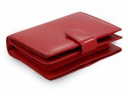 cervena damska kozena penezenka s uzsi zapinkou