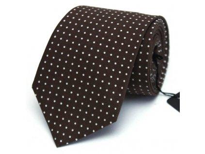 Tmavě hnědá kravata s bílými puntíky