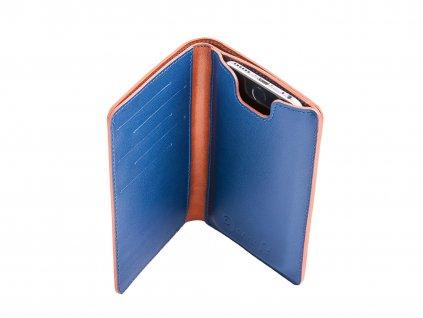 Kožená peněženka s pouzdrem na iPhone 7/6S/6, Hnědo/Modrá